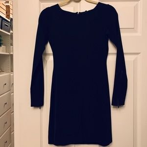 Theory Dress - Long sleeved black scope neck